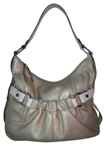 Tignanello Metallic White Leather Pouch Hobo Bag