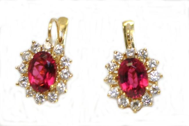 Item - Yellow Gold Europian Style Pink Tourmaline Diamond Earrings
