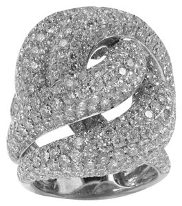 BRAND NEW, Ladies 18k White Gold White Gold Swirl Diamond Cocktail Ring