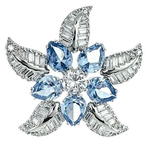 Kenneth Jay Lane CZ by Kenneth Jay Lane Starfish Pin, Aquamarine/Clear