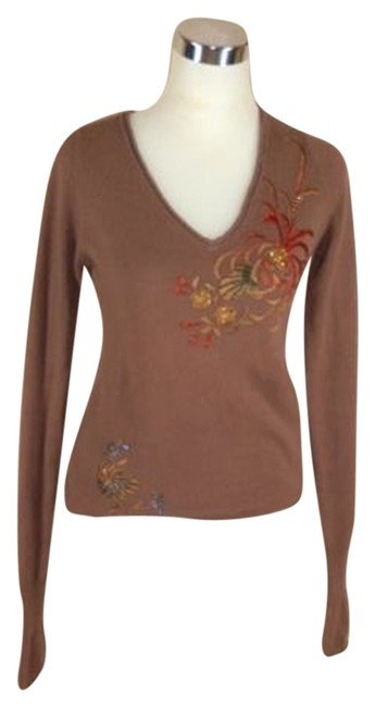 Cake Couture Cashmere V-neck Embroidered Long Sleeve Crystals Sweater