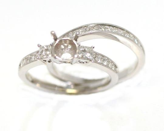 White Gold Set Of Cut Semi Mount Engagement Ring