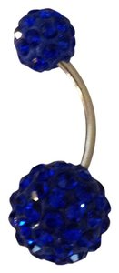 Dark Blue Shamballa Crystal Rhinestones Disco Ball Belly Navel Ring