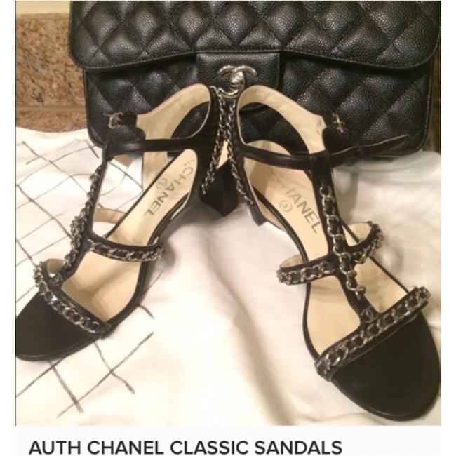 Chanel Black & Silver Chain Formal Shoes Size US 7.5 Regular (M, B) Chanel Black & Silver Chain Formal Shoes Size US 7.5 Regular (M, B) Image 4
