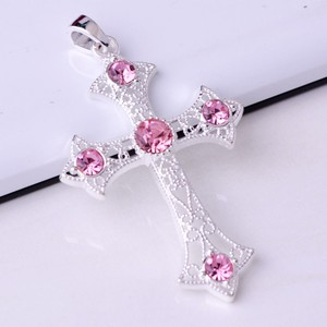 Pink Topaz Accented Silver Cross Pendant Free Chain & Shipping