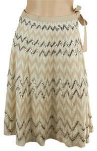 BCBGMAXAZRIA White Skirt Tan/White