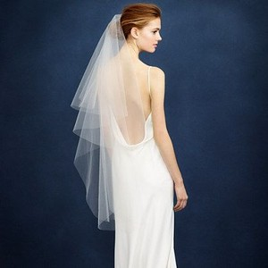 BHLDN White Medium Single Layer Fingertip Length Bridal Veil