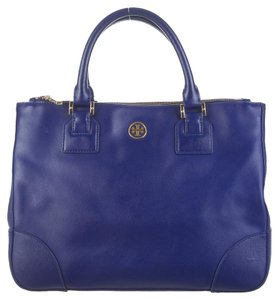 Tory Burch Textured Leather Saffiano Robinson Satchel Gold Hardware Reva Logo Monogram Tote in Blue