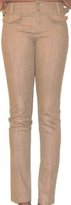 Nanette Lepore Ankle Crop Capri Wool Straight Pants Tan