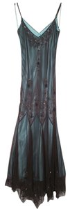 Papell Boutique Beaded Godet V-neck Evening Gown Dress