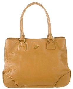 Tory Burch Tan Brown Leather Satchel Gold Hardware Robinson Logo Reva Monogram Tote in Beige