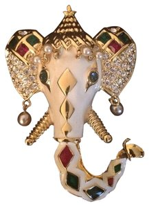 Kenneth Jay Lane KJL Kenneth Jay Lane Royal Maharajah Enamel Elephant Brooch Pin