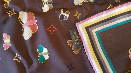 Louis Vuitton Brown Louis Vuitton silk scarf with butterfly LV monogram print