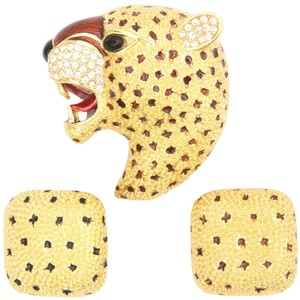 Other Ciner Roaring Leopard Cat Pin and Earrings Set