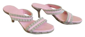 Gucci Ruffle Size 7 Leather Gg Web Beige Pink Sandals