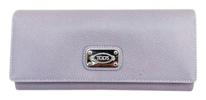 Tod's NEW TOD'S LILAC PURPLE TUMBLED LEATHER SILVER NAME PLATE LONG BIFOLD WALLET