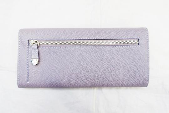 Tod's NEW TOD'S LILAC PURPLE TUMBLED LEATHER LONG BIFOLD WALLET
