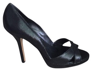Nicole Miller Party Leather Snakeskin Black Pumps