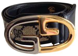 Gucci Navy Blue Gucci Belt with Silver and Gold Buckle Fits 36-38 waist size 95