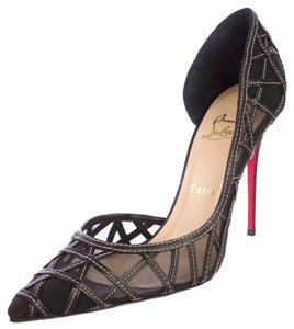Christian Louboutin Lace Mesh Fishnet Stiletto Pointed Toe Print D'orsay Leather Black Pumps
