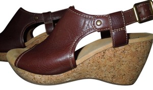 Clarks Brown Sandal Leather Cork Comfortable Cute Brown leather Wedges
