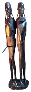 Other Maasai Warrior Couple; Kenyan Mpingo Wood Carving [ SisterSoul Closet]