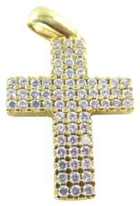 18KT SOLID YELLOW GOLD PENDANT CROSS WHITE STONES ZIRCONIA FAITH ZIRCON JEWELRY
