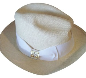 Tory Burch NWT TORY BURCH CLASSIC GROSGRAIN FEDORA NATURAL STRAW/WHITE
