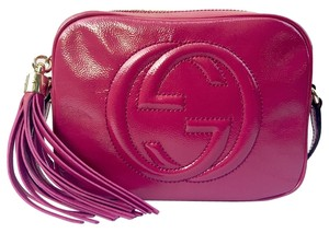 81156a430839 Gucci Gg Patent Leather Tassel Crossbody Pink Leather Made In Italy Italian Fuchsia  Messenger Bag