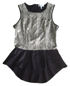 Faux Leather Party Top Black Snakeskin