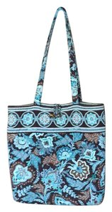 Vera Bradley Tote in Blue and Brown Paisley