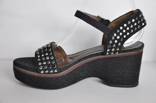 Marni Denim Sandals Rhinestones Black Wedges