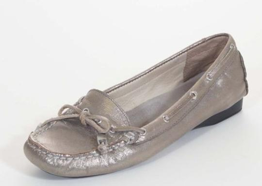 Michael Kors Womens Leather Mocassins Loafers Silver Flats