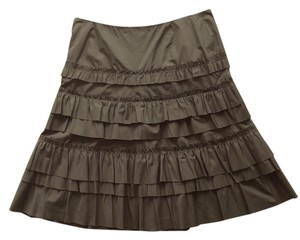 Akris Punto Cotton Tiered Skirt Olive Green