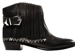 Zara Cowboy 8 Fringe Fringed Fringe 2012 Leather Leather Black Boots