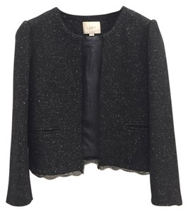 Ann Taylor LOFT Lace Tweed Lace Trim Classic Black Jacket