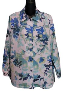Draper's and Damon's Business Casual Floral Button Down Shirt Blue, Green and White