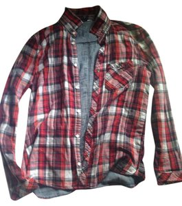 H&M Flannel Chambray Button Down Shirt Red, Black, White
