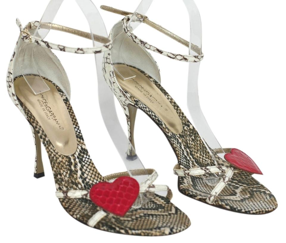 Dolce&Gabbana Brown Ivory Dolce & & & Gabbana Exotic Leather Ankle Strap 38.5 Sandals 0ddeca