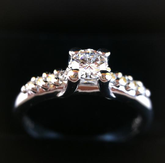 Dior Christian Dior Platinum Pt900 0.263ct Solitaire Diamond & appr. 0.10s ct Side Diamonds Ring 5.5 US w/ Box & Certificate