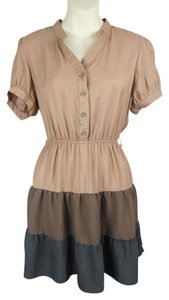 Modcloth short dress beige, gray, brown, gold Tiered Shirt on Tradesy
