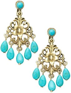 Ralph Lauren Turquoise Bead Small Chandelier Clipon