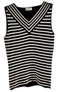 Tahari Bold Stripe Stretchy V-neck Sweater