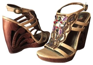 Shi by Journey's Beaded Boho Free People Multi, Brown, Gold, Red, Bronze Wedges