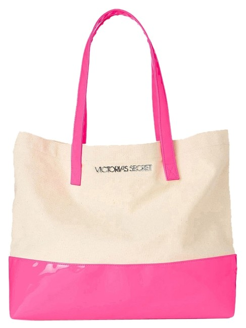 Item - Colorblock Hot Pink/Beige Tote Beige/Pink Canvas/Pvc Beach Bag