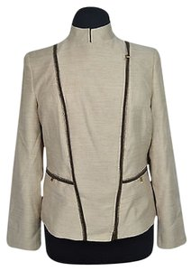 Jones New York 10 58 Jones York Womens Chino Beige Brown Zip Up Blazer