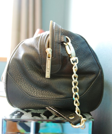 Olivia + Joy Charlotte Faux Leather Nordstrom Nordstrom Rack Chain Detail Gold Hardware Gold Detail Satchel in Black