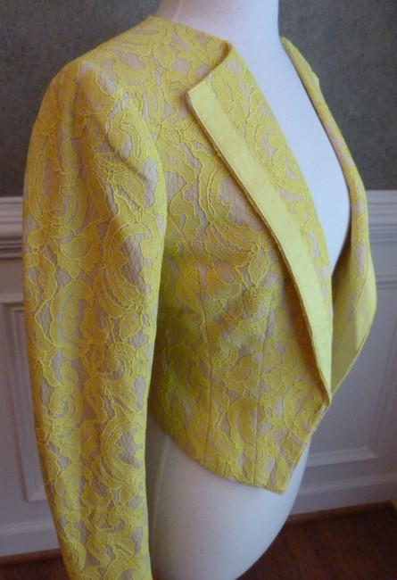 Anthropologie Lace Cropped Yellow Jacket