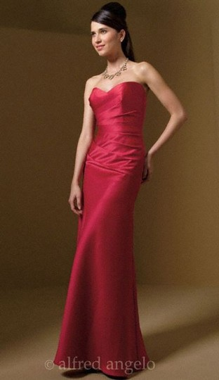 Alfred Angelo Red Satin Style # 7041 Corset Back Color: Claret Formal Bridesmaid/Mob Dress Size 10 (M)