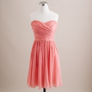 J.Crew Pink Chiffon Coral Arabelle In Style Number Feminine Bridesmaid/Mob Dress Size 12 (L)